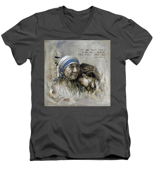 Men's V-Neck T-Shirt featuring the painting Mother Teresa Portrait  by Gull G