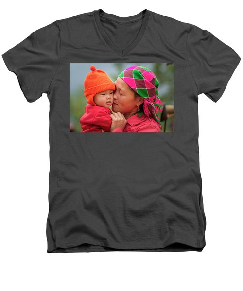 Men's V-Neck T-Shirt featuring the photograph Motherly Love, Sa Pa, 2014 by Hitendra SINKAR
