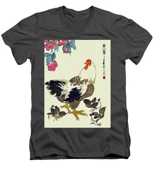 Motherly Love Men's V-Neck T-Shirt by Yufeng Wang