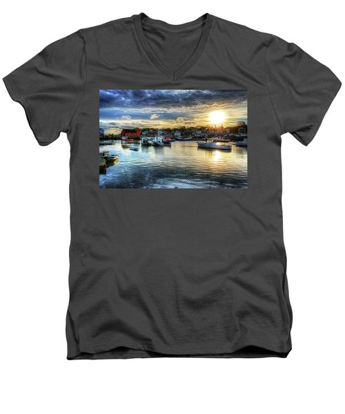 Motif #1 Sunrise Rockport Ma Men's V-Neck T-Shirt