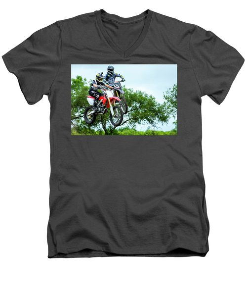 Men's V-Neck T-Shirt featuring the photograph Motocross Battle by David Morefield