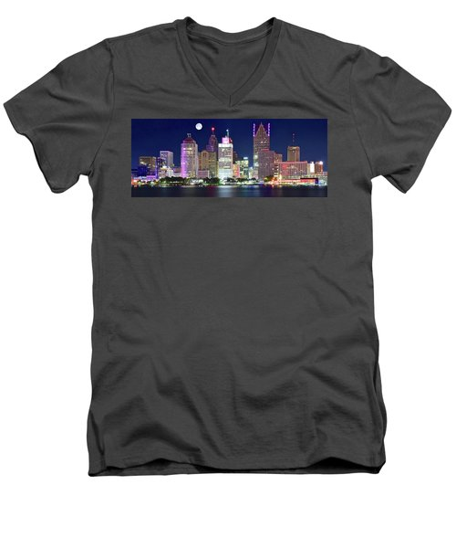 Men's V-Neck T-Shirt featuring the photograph Motor City Night With Full Moon by Frozen in Time Fine Art Photography