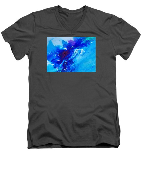 Men's V-Neck T-Shirt featuring the painting Motu Arutua by Ed  Heaton