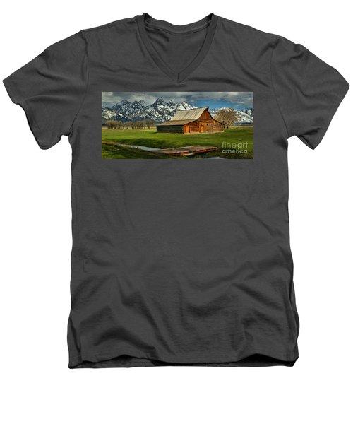 Moulton Barn Springtime Panorama Men's V-Neck T-Shirt by Adam Jewell