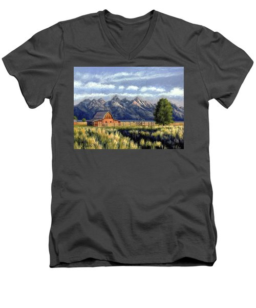 Moulton Barn At The Grand Tetons Men's V-Neck T-Shirt