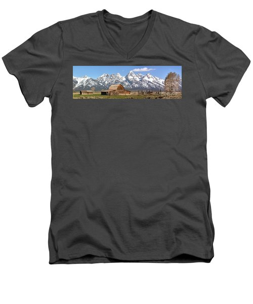 Moulton Barn Blue Sky Panorama Men's V-Neck T-Shirt by Adam Jewell