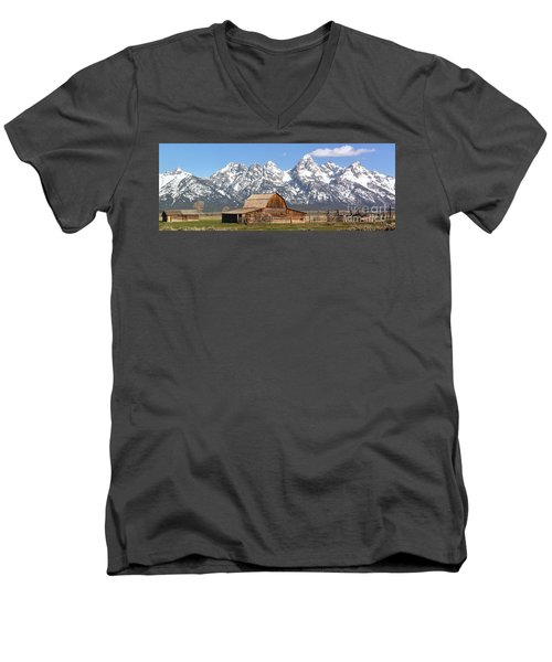 Moulton Barn Homestead Spring Panorama Men's V-Neck T-Shirt by Adam Jewell