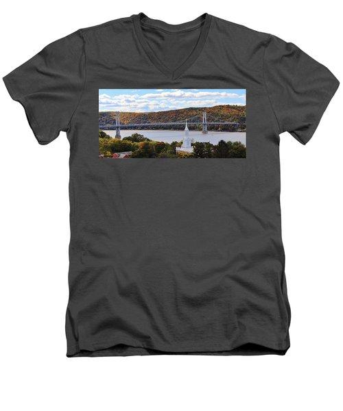 Mount Carmel And The Mid Hudson Bridge Men's V-Neck T-Shirt
