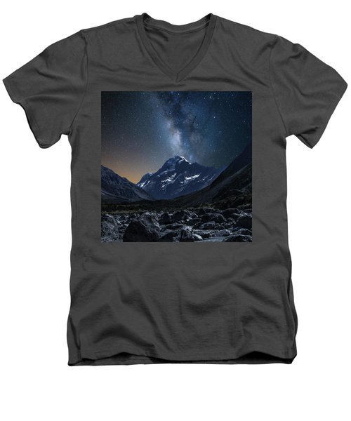 Mount Cook At Night Men's V-Neck T-Shirt by Martin Capek