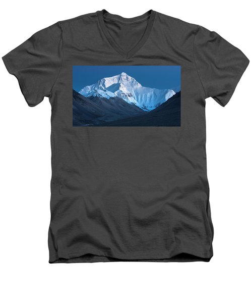 Men's V-Neck T-Shirt featuring the photograph Mount Everest At Blue Hour, Rongbuk, 2007 by Hitendra SINKAR