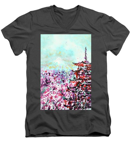 Men's V-Neck T-Shirt featuring the painting Mount Fuji And The Chureito Pagoda In Spring by Zaira Dzhaubaeva