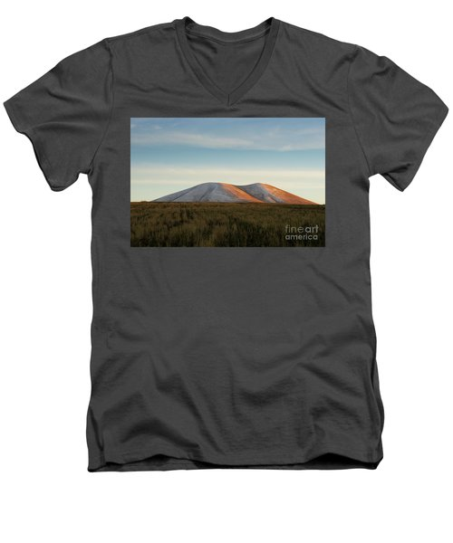 Mount Gutanasar In Front Of Wheat Field At Sunset, Armenia Men's V-Neck T-Shirt by Gurgen Bakhshetsyan