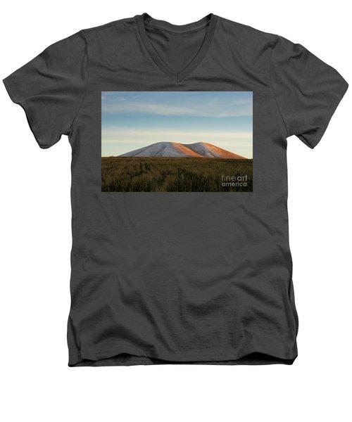 Mount Gutanasar In Front Of Wheat Field At Sunset, Armenia Men's V-Neck T-Shirt