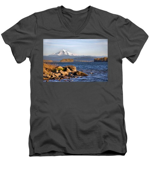 Men's V-Neck T-Shirt featuring the photograph Mount Hood And The Columbia River by Jim Walls PhotoArtist