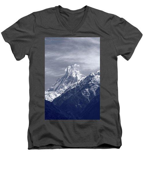 Mount Machapuchare, The Himalayas, Nepal Men's V-Neck T-Shirt
