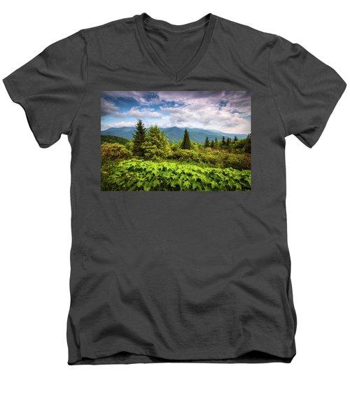 Mount Mitchell Asheville Nc Blue Ridge Parkway Mountains Landscape Men's V-Neck T-Shirt