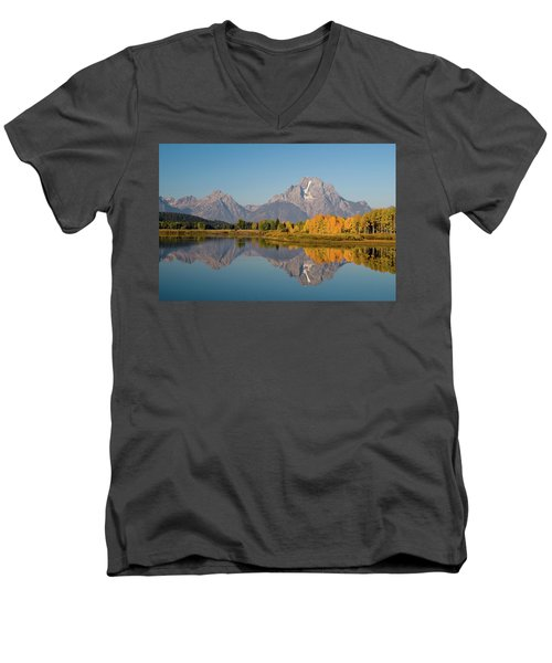 Men's V-Neck T-Shirt featuring the photograph Mount Moran by Steve Stuller