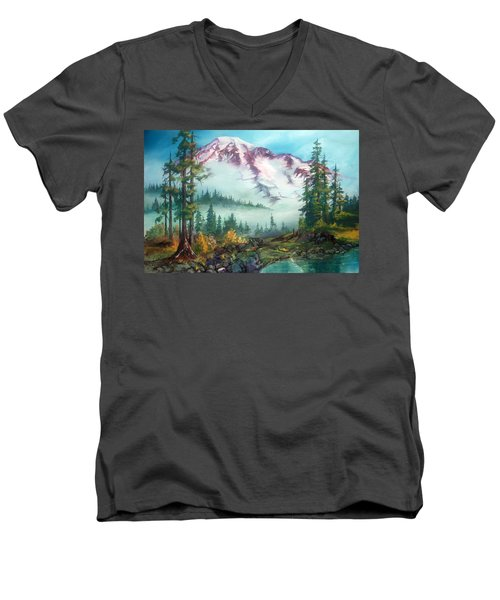 Men's V-Neck T-Shirt featuring the painting Mount Rainier by Sherry Shipley