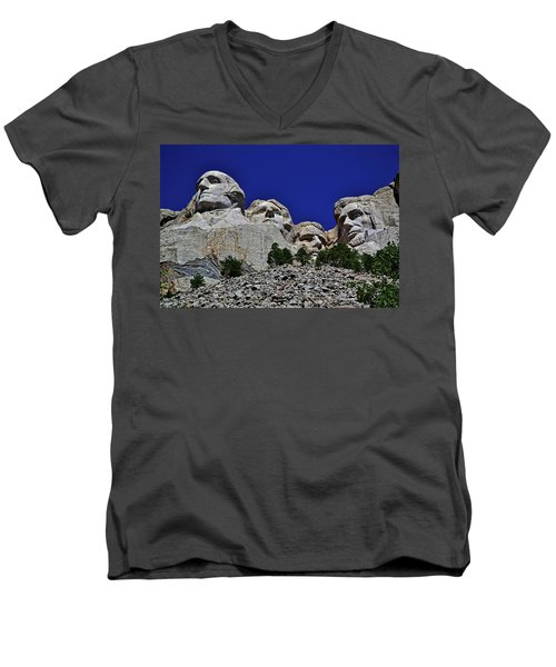 Men's V-Neck T-Shirt featuring the photograph Mount Rushmore 007 by George Bostian