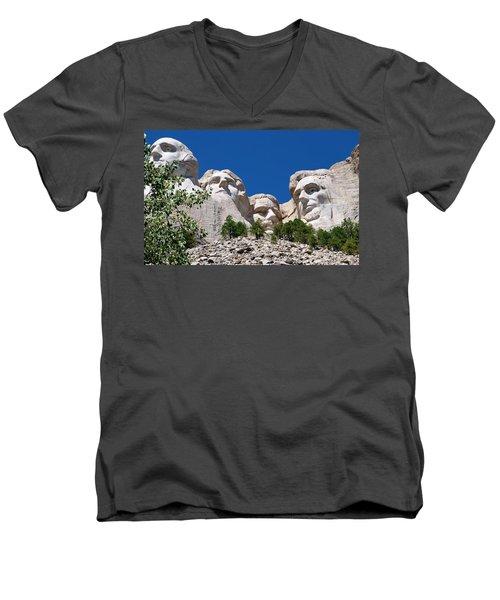 Mount Rushmore Close Up View Men's V-Neck T-Shirt by Matt Harang