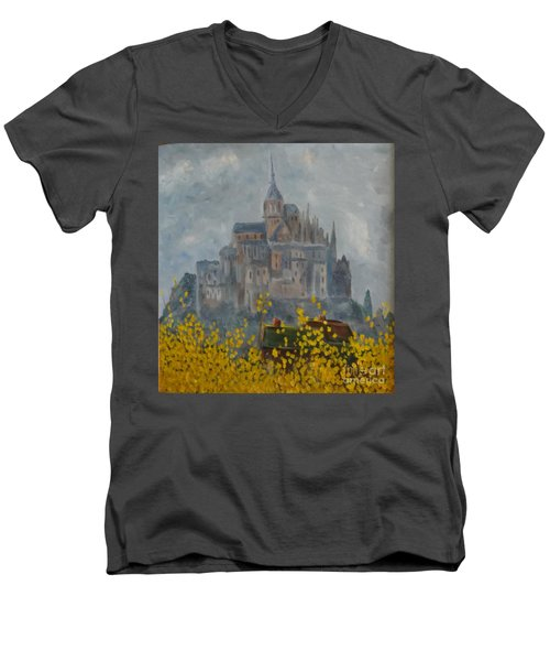 Men's V-Neck T-Shirt featuring the painting Mount Saint Michael by Rod Ismay