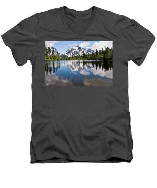 Mount Shuksan Reflected In Picture Lake Men's V-Neck T-Shirt by Jeff Goulden