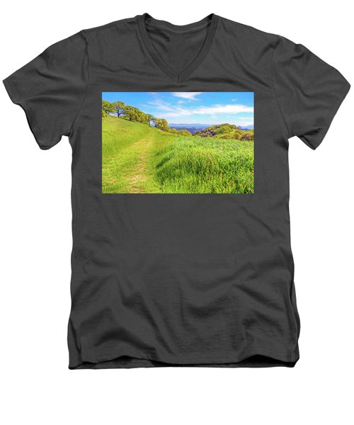 Mount Wanda Digital Watercolor Men's V-Neck T-Shirt