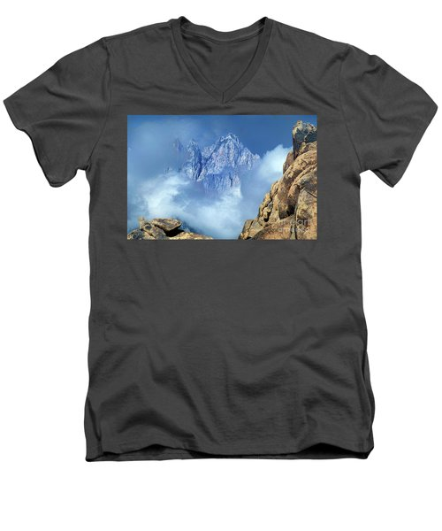Mount Whitney Clearing Storm Eastern Sierras California Men's V-Neck T-Shirt by Dave Welling