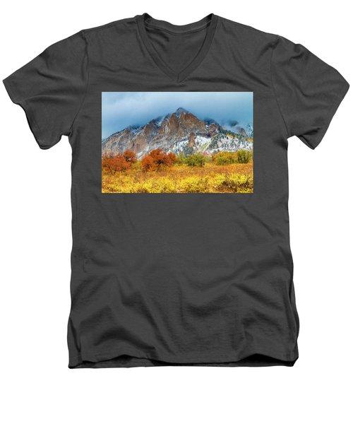 Mountain Autumn Color Men's V-Neck T-Shirt by Teri Virbickis