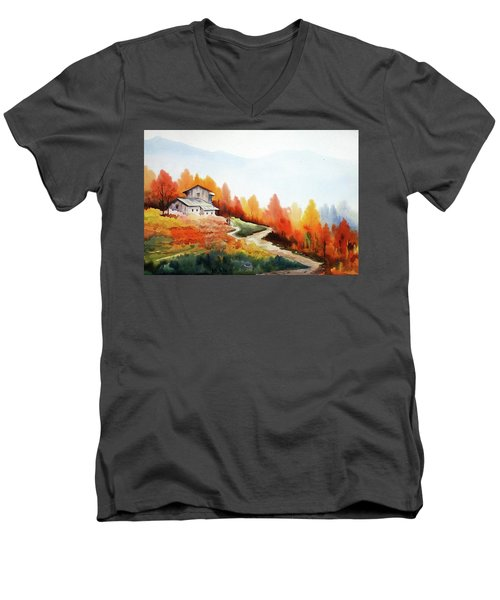 Men's V-Neck T-Shirt featuring the painting Mountain Autumn Forest by Samiran Sarkar