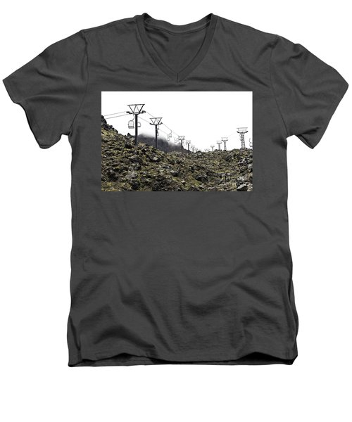 Men's V-Neck T-Shirt featuring the photograph Mountain Cable Road Waiting For Snow. Mount Ruapehu. New Zealand by Yurix Sardinelly