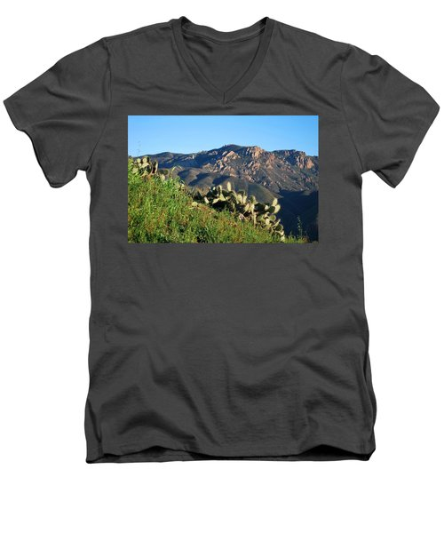 Mountain Cactus View - Santa Monica Mountains Men's V-Neck T-Shirt