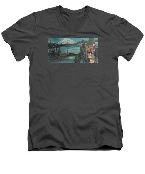 Mountain Cat Men's V-Neck T-Shirt