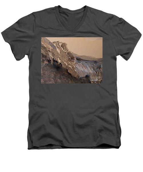 Mountain Cliff Men's V-Neck T-Shirt by Nancy Kane Chapman