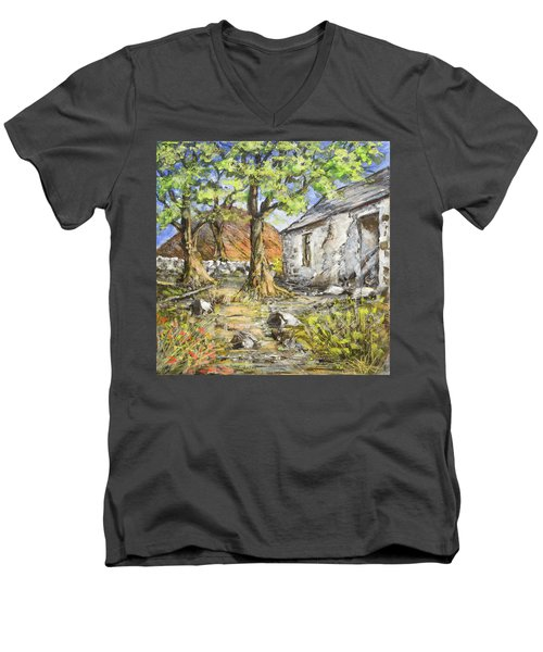 Mountain Cottage Men's V-Neck T-Shirt by Marty Garland