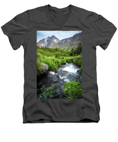 Mountain Creek In Early Summer Men's V-Neck T-Shirt
