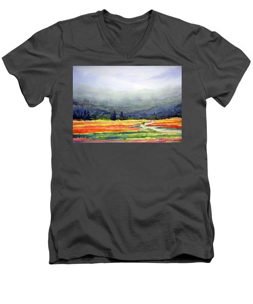 Men's V-Neck T-Shirt featuring the painting Mountain Flowers Valley by Samiran Sarkar