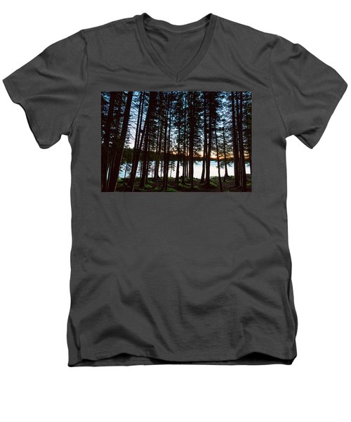 Men's V-Neck T-Shirt featuring the photograph Mountain Forest Lake by James BO Insogna