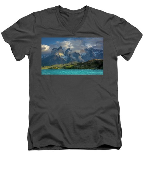 Men's V-Neck T-Shirt featuring the photograph Mountain Glimmer by Andrew Matwijec