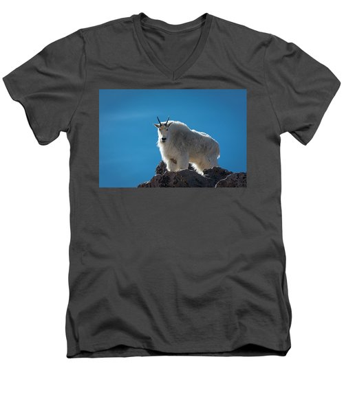 Men's V-Neck T-Shirt featuring the photograph Mountain Goat 3 by Gary Lengyel