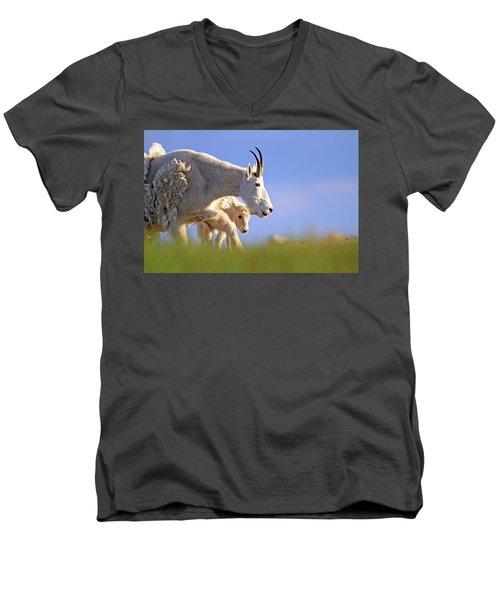 Men's V-Neck T-Shirt featuring the photograph Mountain Goat Light by Scott Mahon