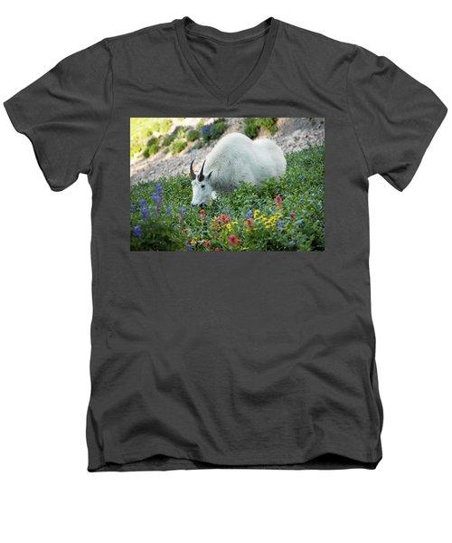 Mountain Goat On Timp Men's V-Neck T-Shirt