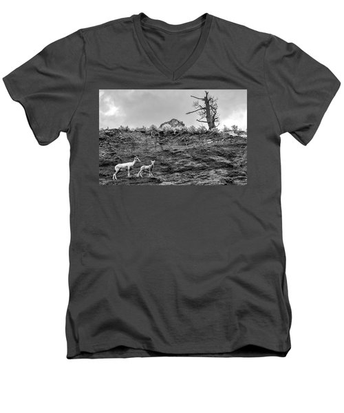 Mountain Goat With A Kid For A Walk Men's V-Neck T-Shirt