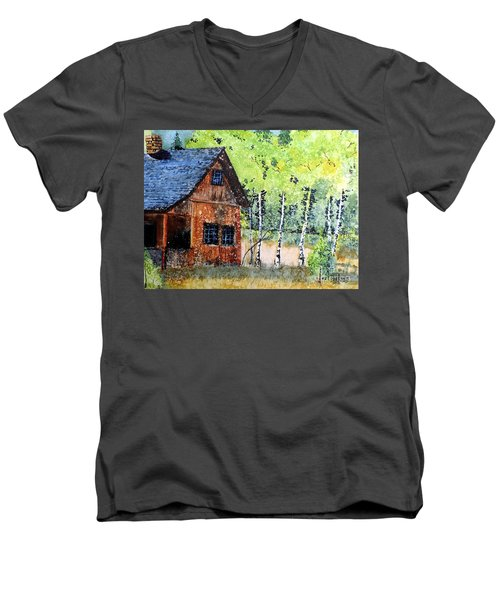 Men's V-Neck T-Shirt featuring the painting Mountain Home by Tom Riggs