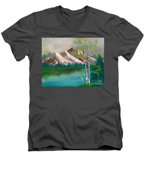 Men's V-Neck T-Shirt featuring the painting Mountain Lake by Denise Tomasura
