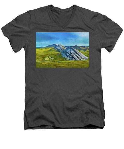 Mountain Landscape Digital Art Men's V-Neck T-Shirt