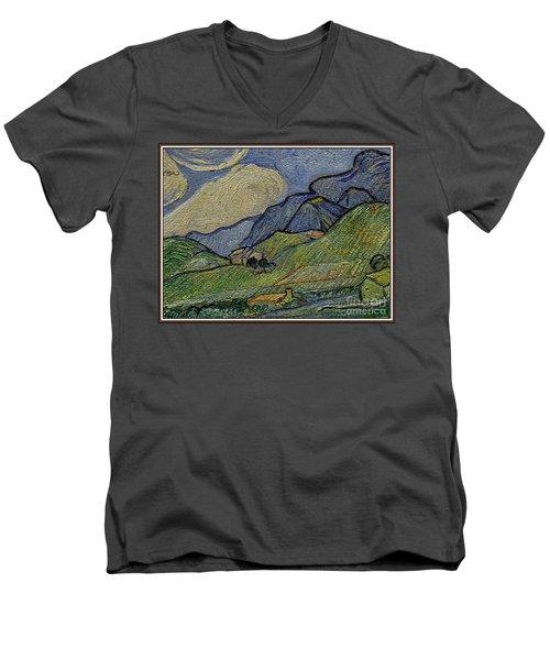 Mountain Landscape Men's V-Neck T-Shirt by Pemaro