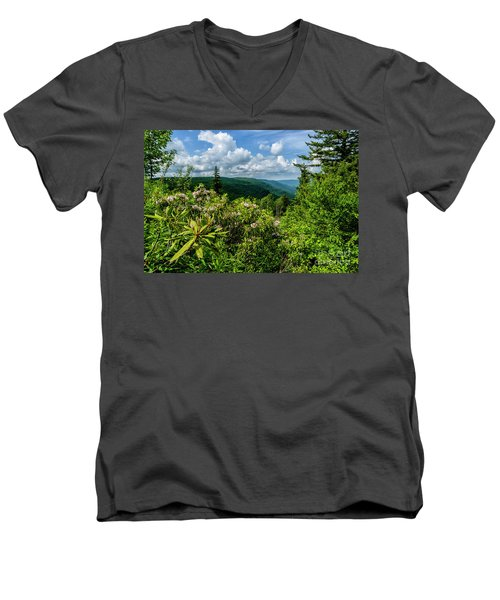 Men's V-Neck T-Shirt featuring the photograph Mountain Laurel And Ridges by Thomas R Fletcher