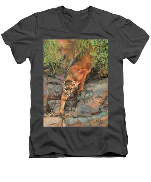 Men's V-Neck T-Shirt featuring the painting Mountain Lion 2 by David Stribbling