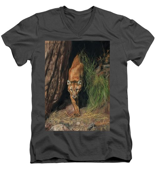 Men's V-Neck T-Shirt featuring the painting Mountain Lion Emerging From Shadows by David Stribbling